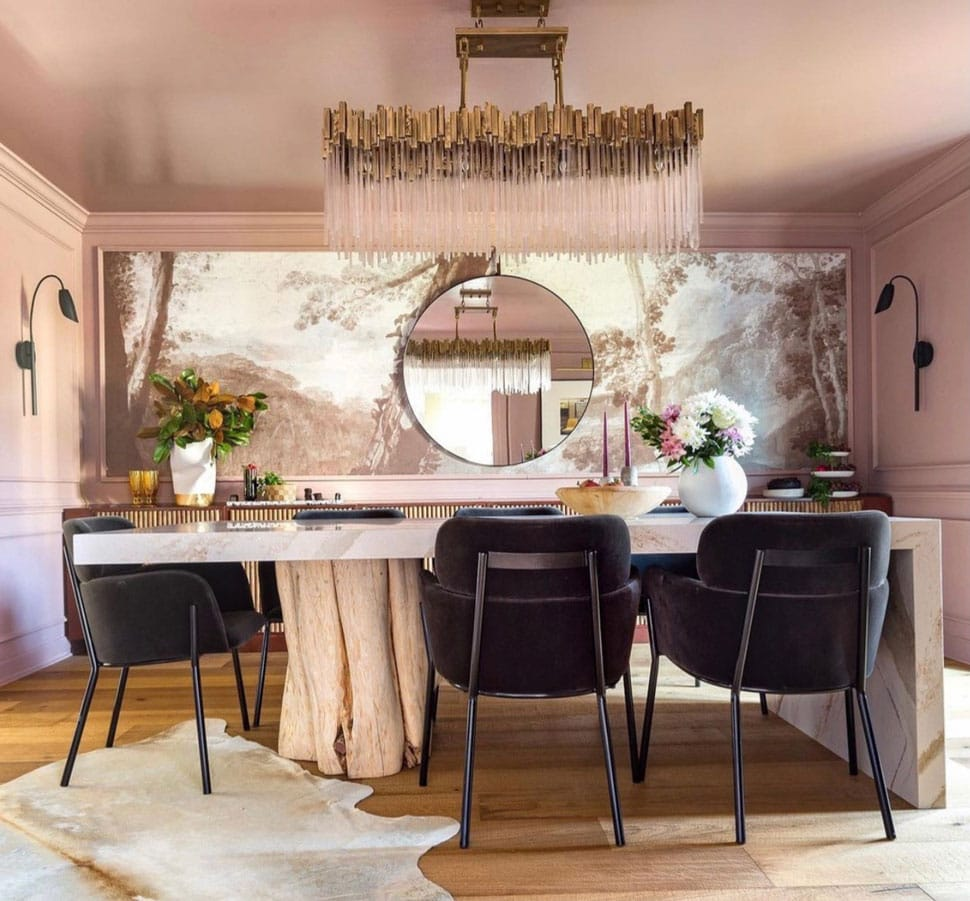 Beautiful and unique dining table referenced in the Atlas Concorde USA blog from Jeweled Interiors