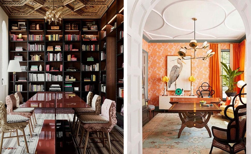 Left: Beautiful dining room with books referenced in the Atlas Concorde USA blog from Architectural Digest; Right: Ping Pong dining table referenced in the Atlas Concorde USA blog from Chenault James Interiors