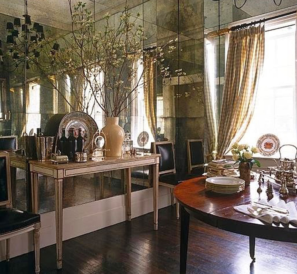 Beautiful mirrored wall referenced in the Atlas Concorde USA blog from Jane French Home