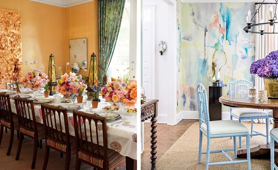 Left: Apricot-colored dining room referenced in the Atlas Concorde USA blog from Jan Showers; Right: Gorgeous waltercolor wallpaper referenced in the Atlas Concorde USA blog from Will Huff