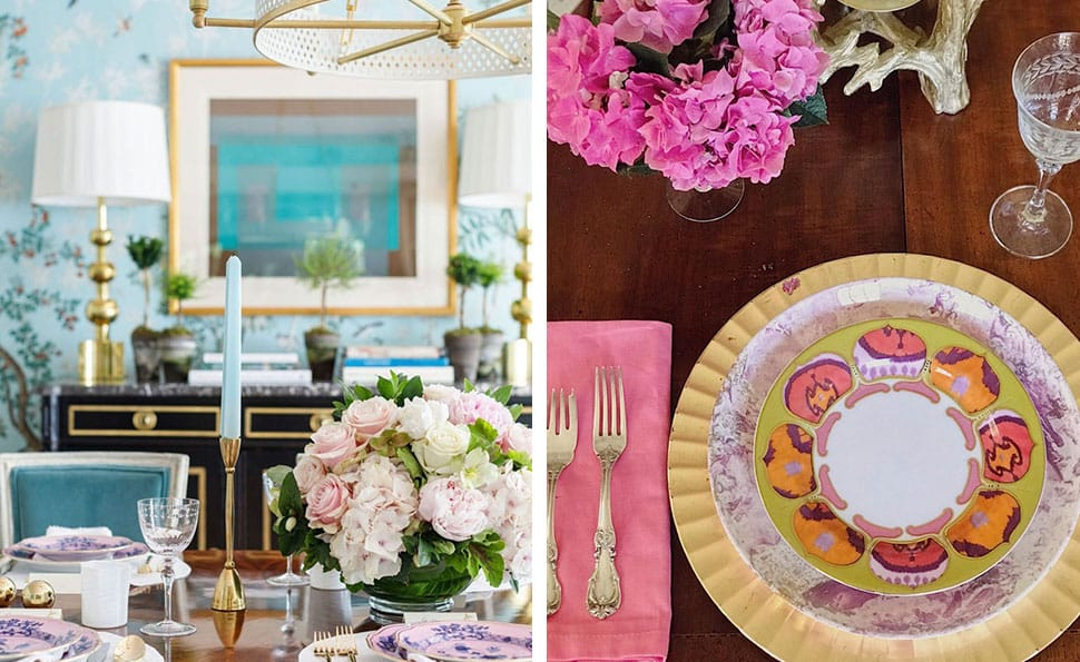 Left: Beautiful flowers on dining table referenced in the Atlas Concorde USA blog from Paloma Contreras; Right: Lovely table setting referenced in the Atlas Concorde USA blog from Heather Dewberry