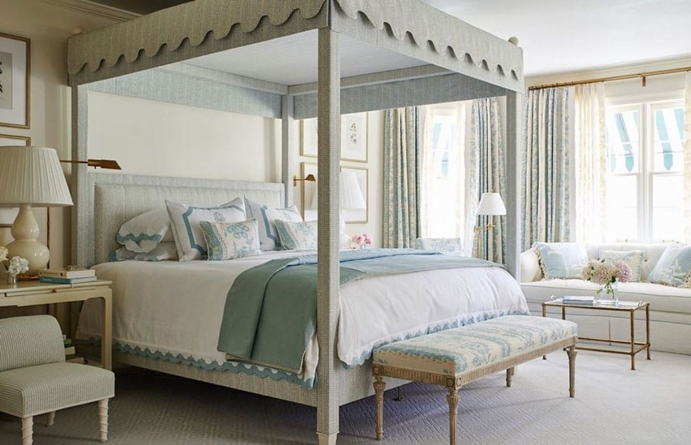 Inspiring bedroom with canopy bed referenced in the Atlas Concorde USA blog from Mark D. Sikes Interiors