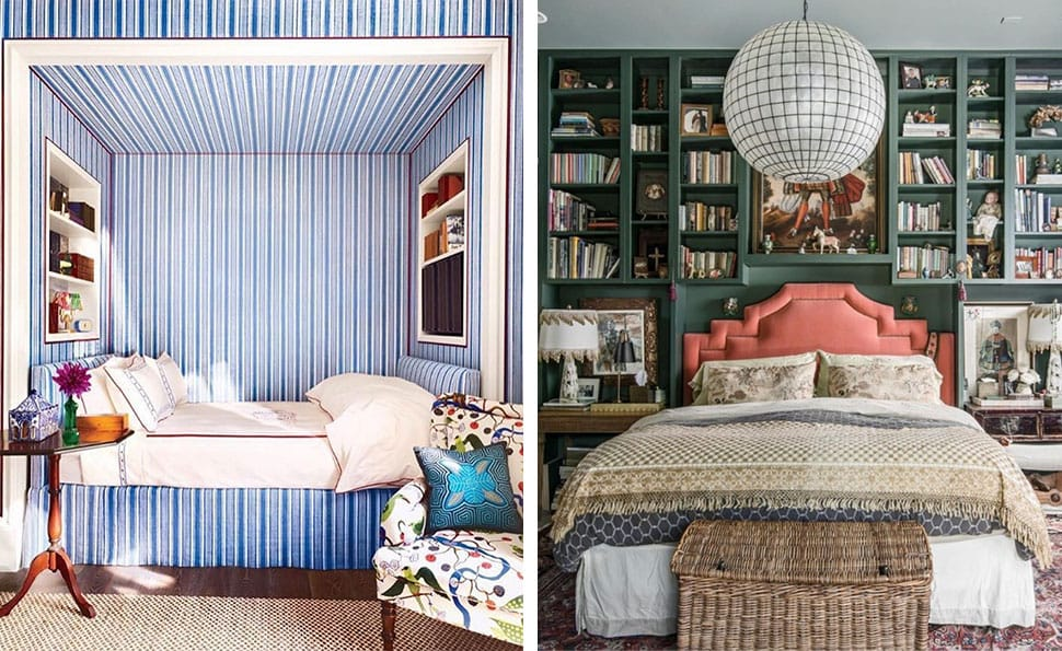 Left: Bed niche referenced in the Atlas Concorde USA blog from Salvesen Graham; Right: Beautiful library bedroom referenced in the Atlas Concorde USA blog from Sotheby's Home