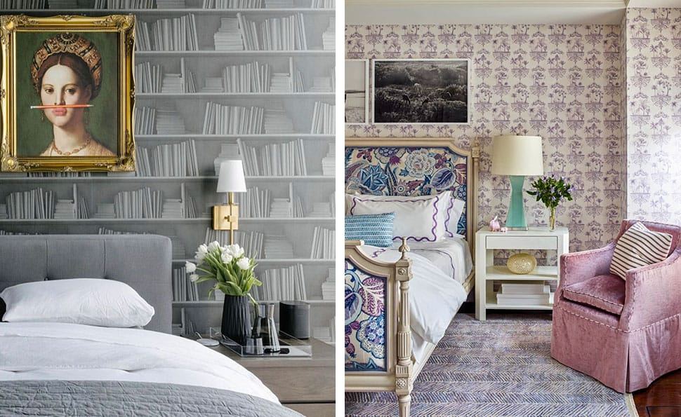 Left: Bedroom with book wallpaper referenced in the Atlas Concorde USA blog from Rue Magazine; Right: Bedroom with bold patterned bed referenced in the Atlas Concorde USA blog from Josh Greene