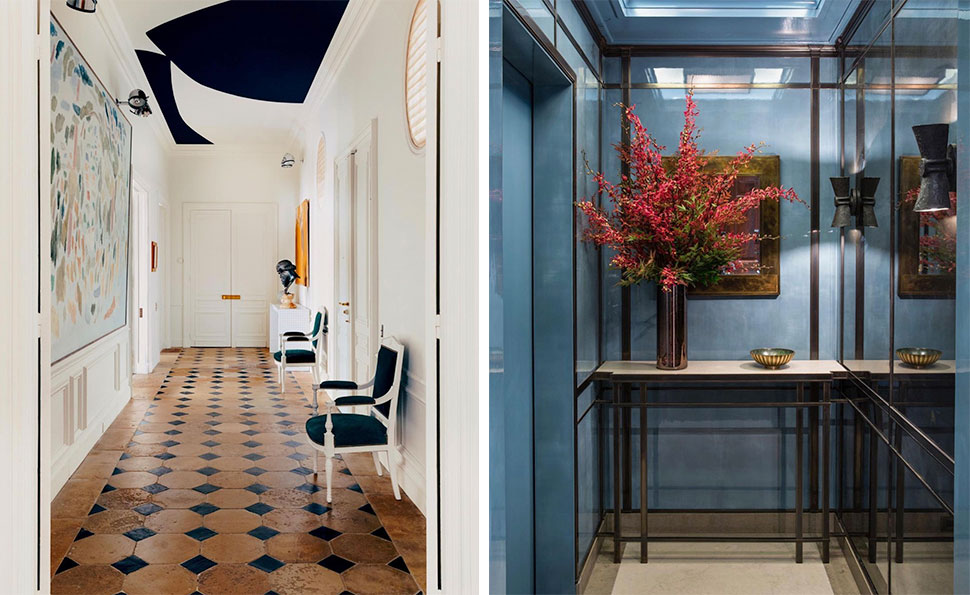 Left: Black and white ceiling referenced in the Atlas Concorde USA blog from Fabrizio Casiraghi; Right: Blue landing referenced in the Atlas Concorde USA blog from Victoria Hagan Interiors