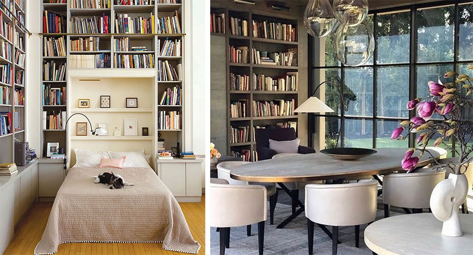 Left: Murphy bed bookshelves featured in the Atlas Concorde USA blog by Domino Magazine; Right: Dining room bookshelves featured in the Atlas Concorde USA blog by Gregorius Pineo