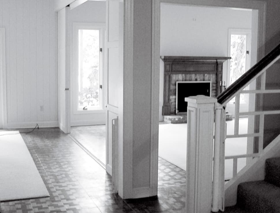 Image of staircase before renovation referenced in the Atlas Concorde USA blog from Laurie Smith