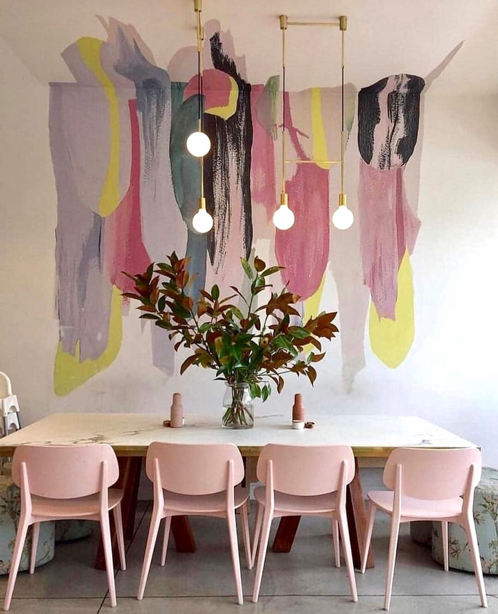 Pink dining room referenced in the Atlas Concorde USA blog from Nest Studio Collection
