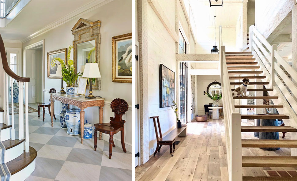 Left: Entry with checkerboard floor referenced in the Atlas Concorde USA blog from Bunny Williams Inc, Right: Floating staircase featured in the Atlas Concorde USA blog from Barry Dixon