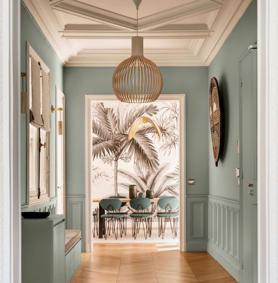 Hallway with palm tree dining room referenced in the Atlas Concorde USA blog from Ashley Stark