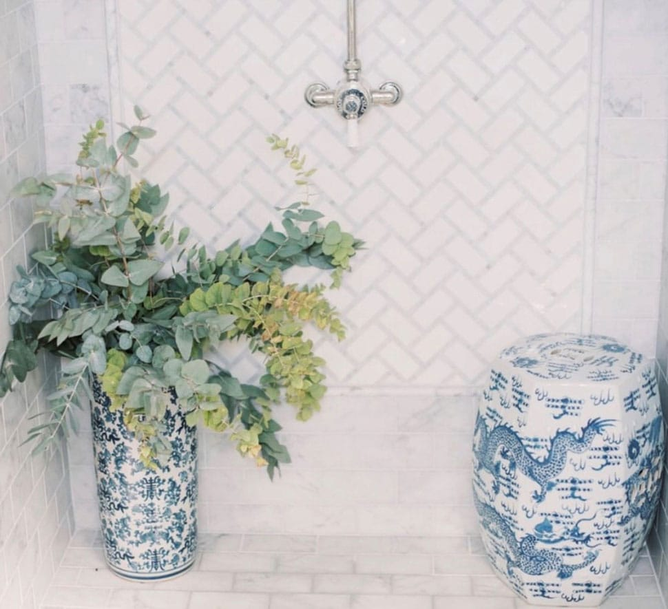 Shower with eucalyptus featured in the Atlas Concorde USA blog from Christian Ladd Interiors