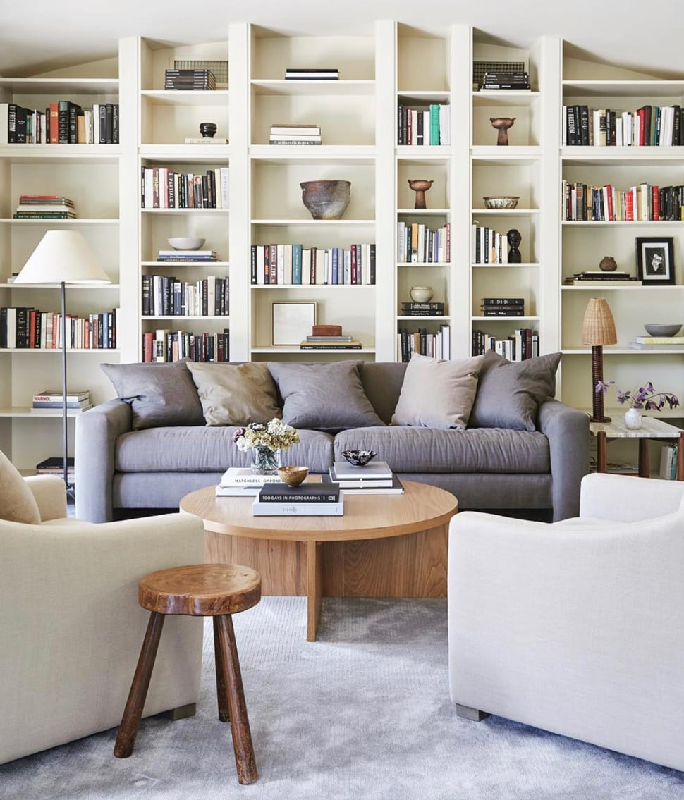 Image of living room with white shelving referenced in the Atlas Concorde USA blog from Jenna Peffley