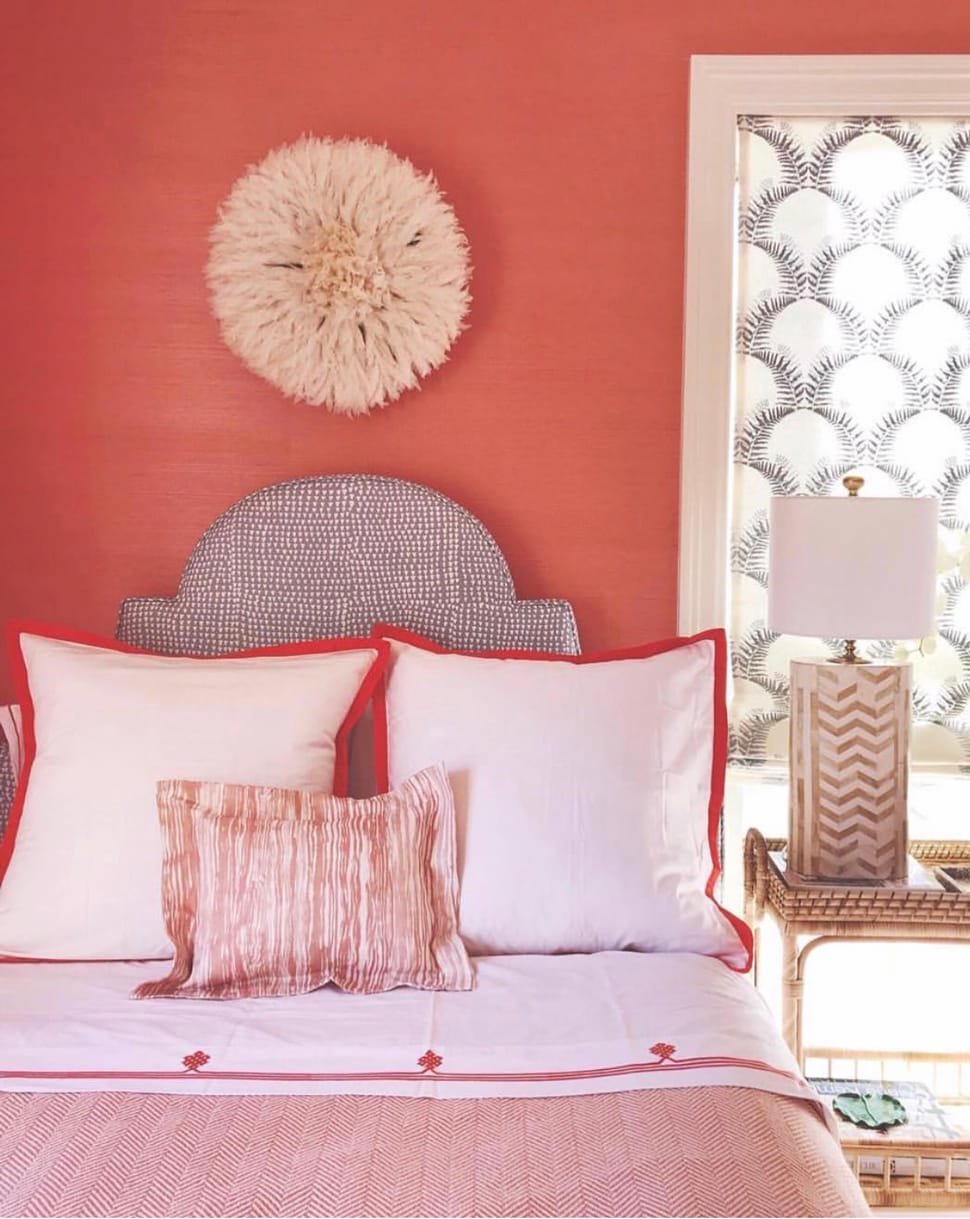 Coral bedroom image referenced in the Atlas Concorde USA blog from Kemble Interiors