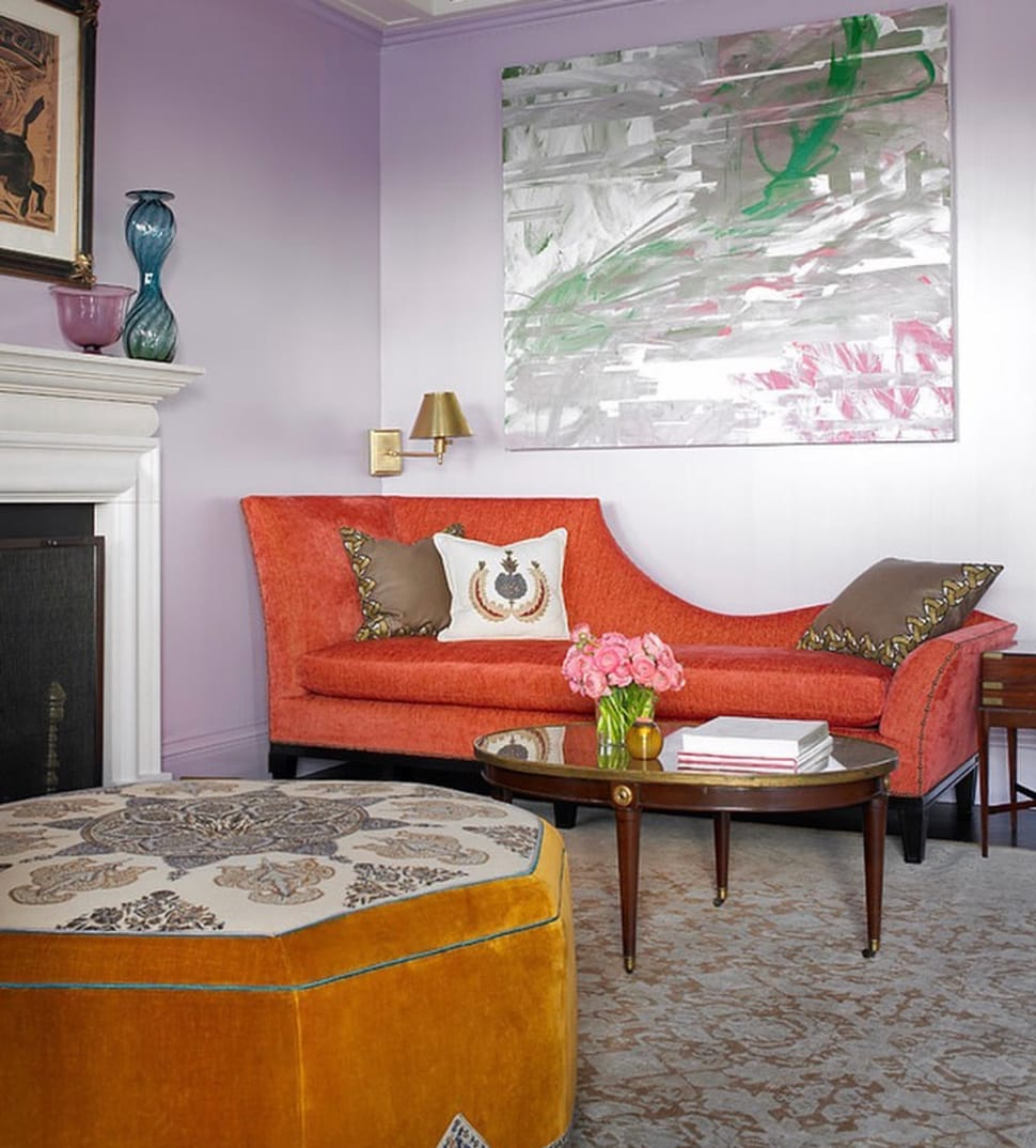Image of living room with purple wall referenced in the Atlas Concorde USA blog from Katie Ridder Inc
