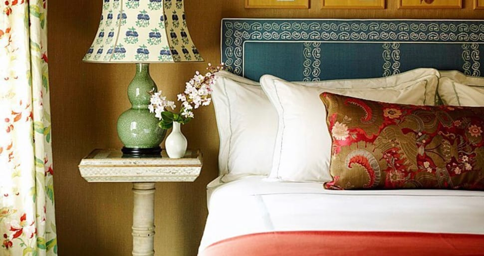 Image turquoise headboard referenced in the Atlas Concorde USA blog from Katie Ridder