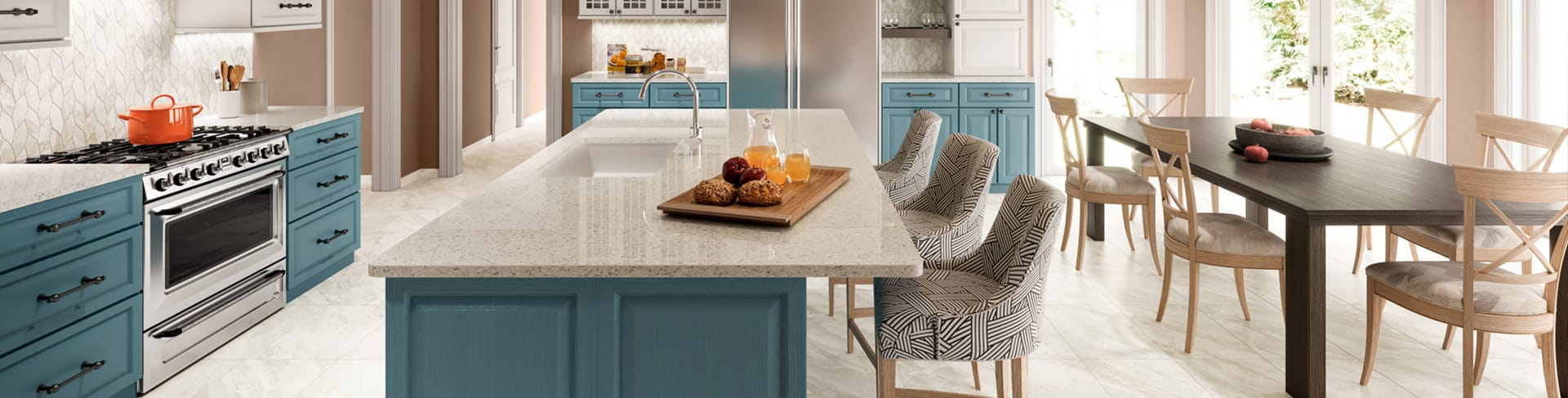 Beautiful porcelain tile kitchen with a marble look from the Atlas Concorde USA Impression Collection