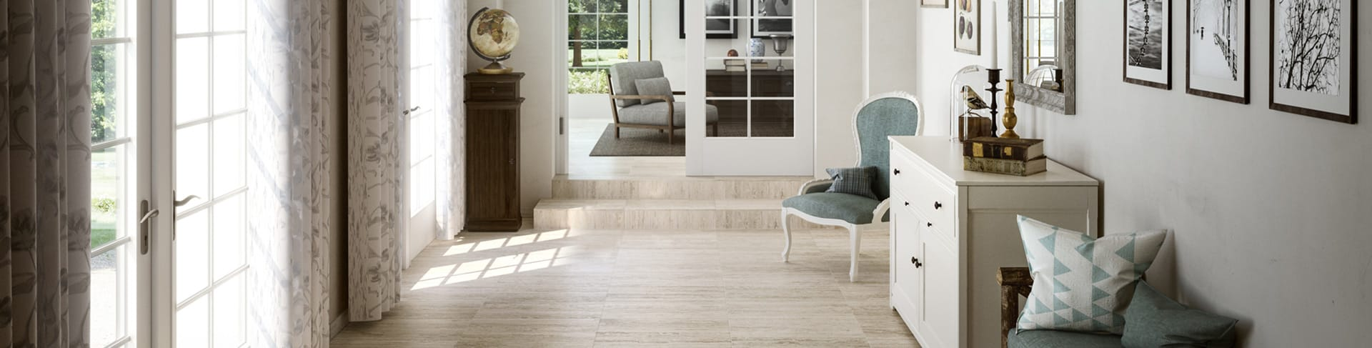 Beautiful porcelain tile with a travertine look from the Atlas Concorde USA Path Collection