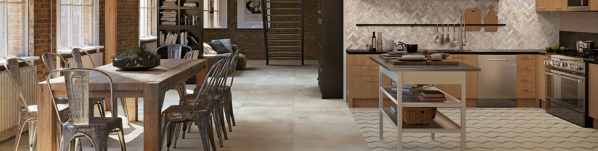 Beautiful porcelain tile grocery store with a cement look from the Atlas Concorde USA Rift Collection