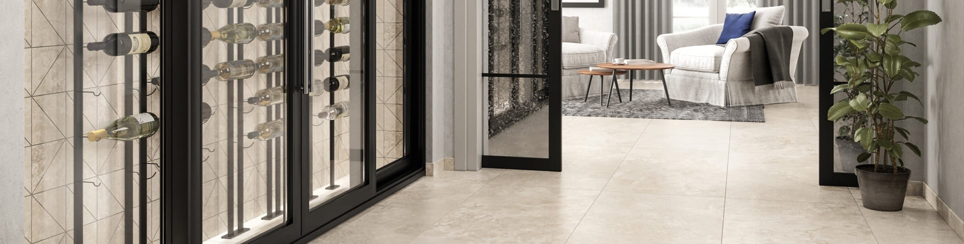 Beautiful porcelain tile hallway with a travertine look from the Atlas Concorde USA Shore Collection