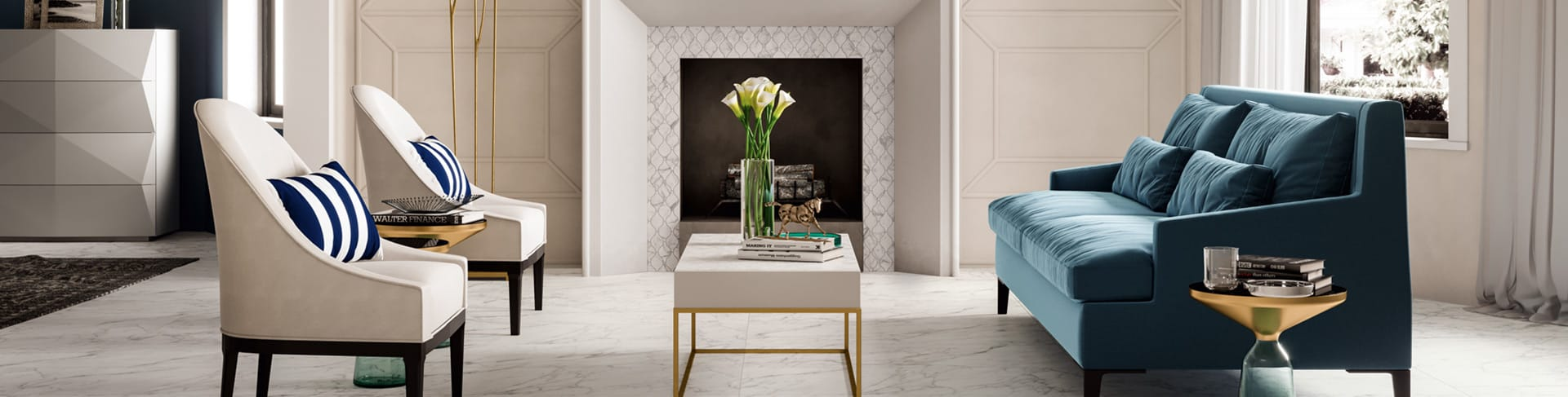 Beautiful porcelain tile living room with a marble look from the Atlas Concorde USA Trilogy Collection