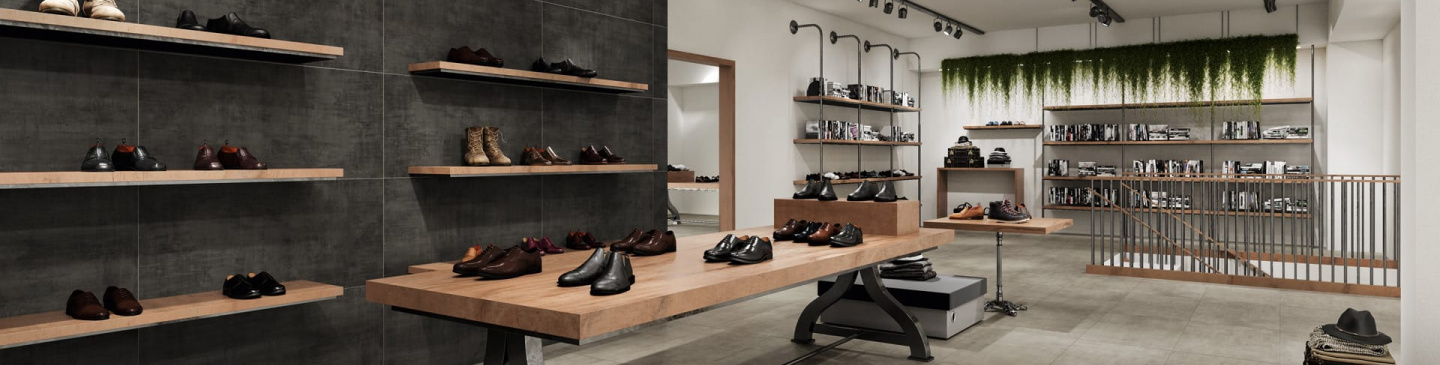Your favorite shoe store featuring the fresh Fray porcelain tile look.