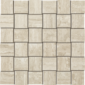 Path Collection White stone-look porcelain tile in mosaic pattern from Atlas Concorde USA - sample