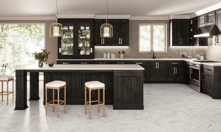 Open kitchen with marble-looking porcelain tiles from Atlas Concorde USA