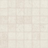 Marble and soapstone-look 2x2 square mosaic with Rooted White porcelain tile from Atlas Concorde USA- sample