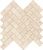 Limestone-looking Rise Light porcelain tile in herringbone pattern from Atlas Concorde USA- sample