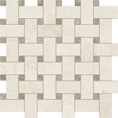 White and Gray Rooted porcelain tile in basketweave pattern from Atlas Concorde USA- sample