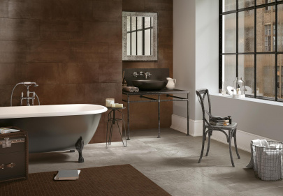 Beautiful porcelain tile residential bathroom with a metal look from the Atlas Concorde USA Forge Collection