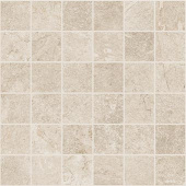 Marble and soapstone-look 2x2 square mosaic with Rooted Ivory porcelain tile from Atlas Concorde USA- sample