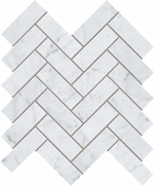 Eon Collection Carrara marble-look porcelain tile in herringbone pattern from Atlas Concorde USA - Sample