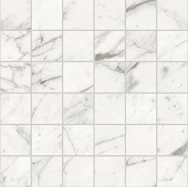 Trilogy Calcatta white marble-looking porcelain tile in 2x2 square mosaic from Atlas Concorde USA- sample