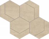 Fray Sand Hexmark Mosaic fabric-look porcelain tile from Atlas Concorde USA - thumbnail