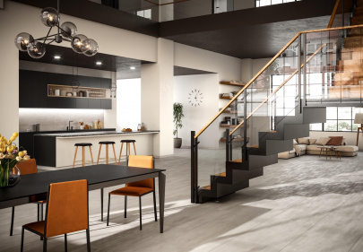 Beautiful porcelain tile penthouse loft with a metal look from the Atlas Concorde USA Reflex Collection