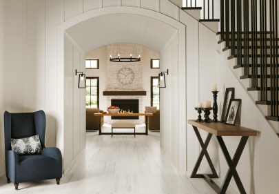 Beautiful porcelain tile residential entryway with a marble look from the Atlas Concorde USA Liberty Collection