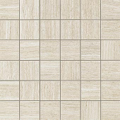 Sign White travertine-looking porcelain tile in 2x2 square mosaic from Atlas Concorde USA- sample