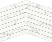 Trilogy Calcatta white marble-looking porcelain tile in chevron mosaic from Atlas Concorde USA- sample