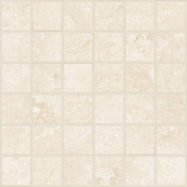 Shore Crest travertine-inspired porcelain tile in 2x2 square mosaic from Atlas Concorde USA- sample