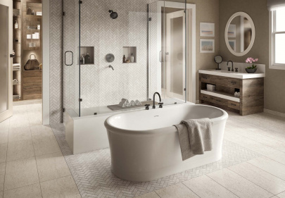 Beautiful porcelain tile master bathroom with a limestone look from the Atlas Concorde USA Rise Collection