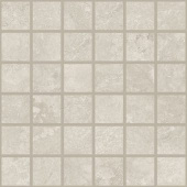 Shore Marine travertine-inspired porcelain tile in squar 2x2 mosaic from Atlas Concorde USA- sample