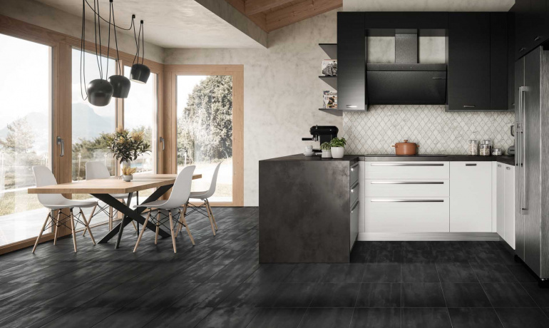 Modern kitchen featuring Reflex metal-looking tile from Atlas Concorde USA