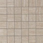 Sign Greige travertine-looking porcelain tile in 2x2 square mosaic from Atlas Concorde USA- sample