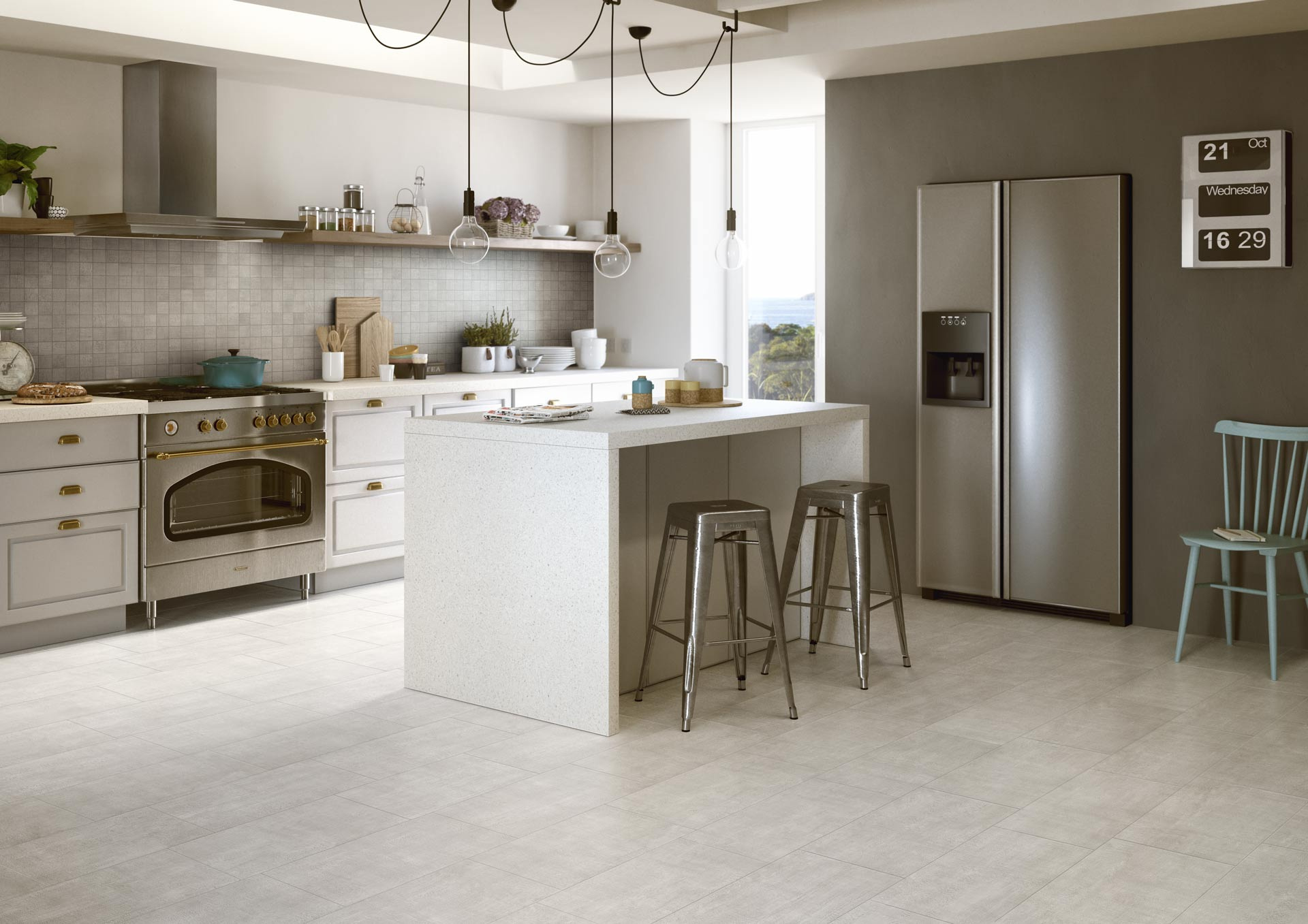 Atlas Concorde USA's Fray in White Pearl used as kitchen flooring.