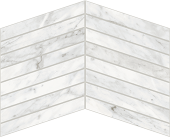 Trilogy Carrara Classic white marble-looking porcelain tile in chevron mosaic from Atlas Concorde USA- sample