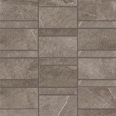 Creative aligned row mosaic look with Ridge Anthracite porcelain tile from Atlas Concorde USA-sample
