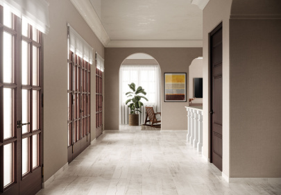 Beautiful porcelain tile residential hallway with a wood look from the Atlas Concorde USA Beacon Collection
