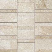 Creative aligned row mosaic look with Ridge Ivory porcelain tile from Atlas Concorde USA-sample