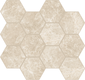 Liberty Collection Monument Cream marble-look porcelain tile in honeycomb pattern from Atlas Concorde USA - Sample